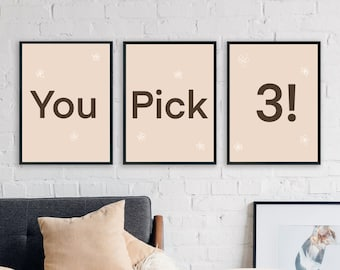 You Choose Any 3 Prints, Mix and Match! Set of 3, Digital Downloadable, Modern Wall Art, Line Drawing Prints, Set of 3 Prints, Printable Art