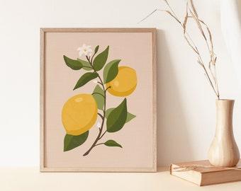 Vintage Lemon Wall Art, Lemon Art Print, Citrus Art, Fruit Art Print, Boho Wall Art Decor, Printable Art, Lemon Print,Botanical Illustration