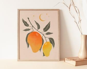 Vintage Mango Wall Art, Mango Art Print, Fruit Art Print, Boho Wall Art Decor, Celestial Printable Art, Mango Print Tropical Fruit,Botanical