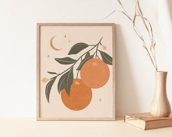 Vintage Clementine Wall Art, Orange Art Print, Citrus Art, Fruit Art Print, Boho Wall Art Decor, Celestial Printable Art, Tangerine Print