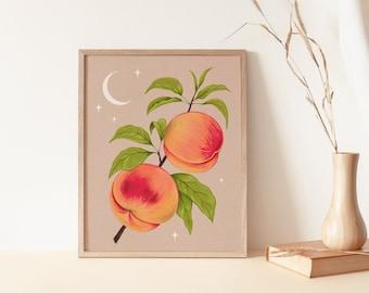 Vintage Peach Wall Art, Peach Art Print, Peach Botanical Drawing, Fruit Art Print, Boho Wall Art Decor, Celestial Wall Art, Antique Peaches
