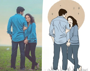 CUSTOM Line Art Drawing, Personalized Illustration, Family/Couples Line Art, Custom Line Art Portrait, Minimalist Illustration, Custom Gift