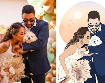 CUSTOM Detailed Line Art Drawing, Digital Art Gift, Personalized Illustration, Family/Couples Line Art, Custom Line Art Portrait,Custom Gift