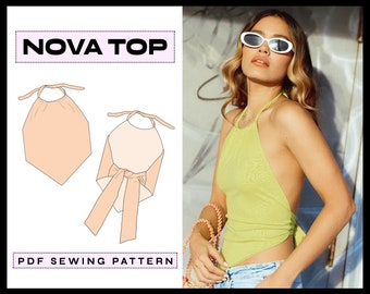 PDF Nova Halter Top Digital SEWING Pattern   EASY 90s Summer Shirt   Trendy Backless Clothing   Instant Download   A4, A0, Letter xs,s,m,l