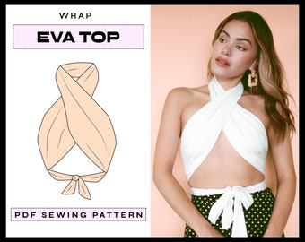 PDF Eva Wrap Top Digital SEWING Pattern   EASY Crop Top Summer Halter Top   diy Backless Clothing   Instant Download A4, A0, Letter xs,s,m,l