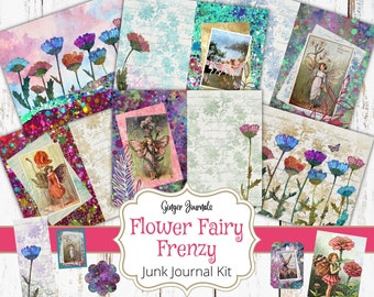 Flower Fairy Frenzy Journal Kit, Junk Journal Printable, Junk Journal Kit, Scrapbook, Vintage Fairy Journal, Fairies, Fae, Fairy Journal, FY