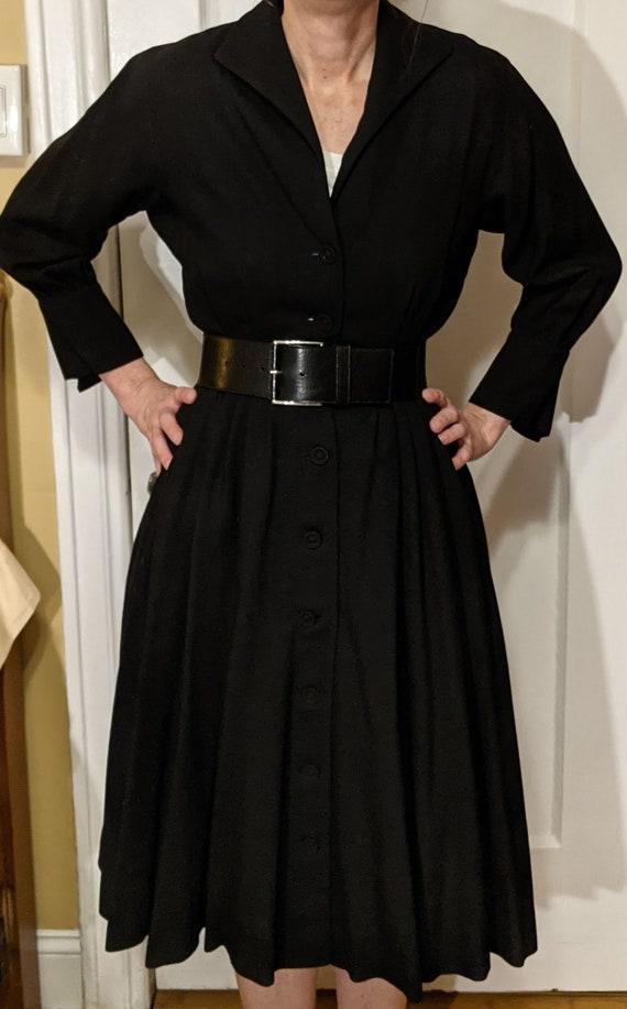 Vintage Women's 50s 60s Black Wool Dress