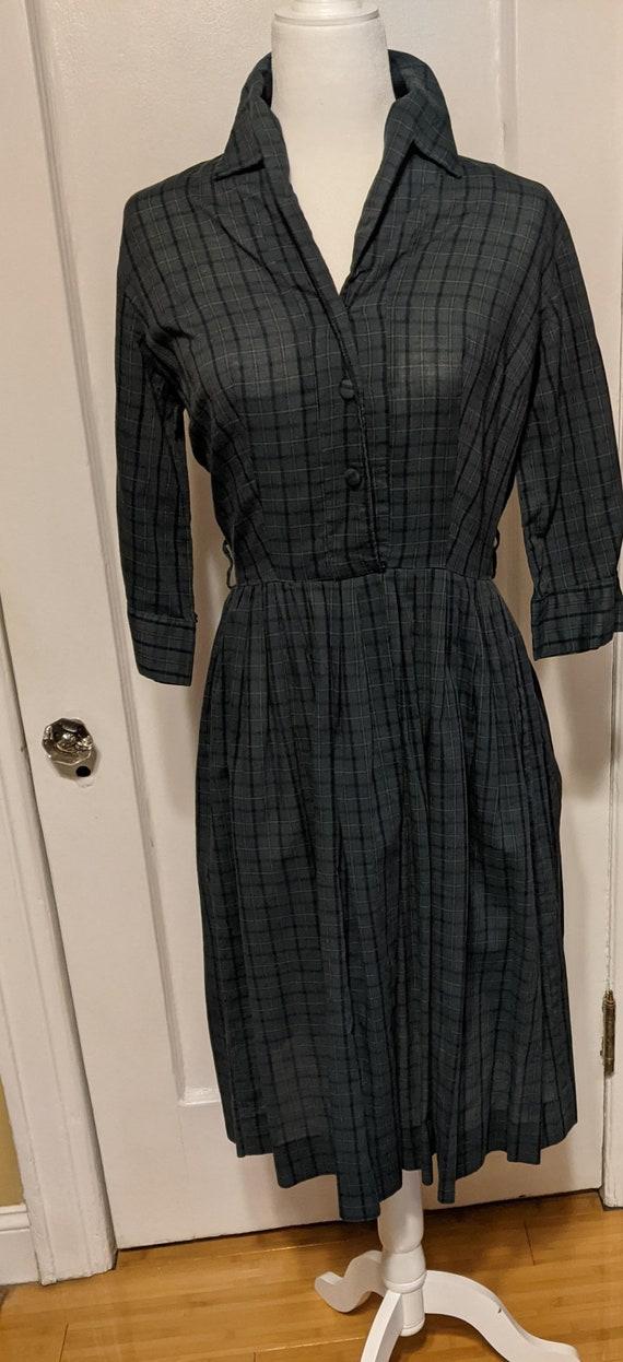 SALE 50s or 60s Green Plaid Shirt Dress