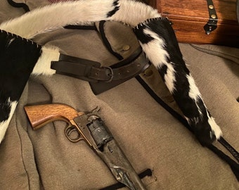 Longhorn hide matching holster and belt set