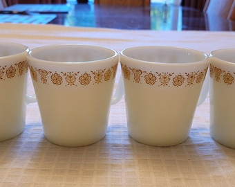 Vintage Pyrex 'Butterfly Gold' Pattern Coffee/Tea Cups/ Vintage Pyrex 1410/