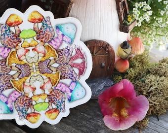 STICKER - Fungus Fun! - Mushroom Mandala - Chantrelles - Morel - Bolete - Shrooms - Psychedelic