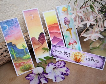 Bookmarks - Nature Lover & Bookworm Heaven - Watercolor Mushrooms - Mountains