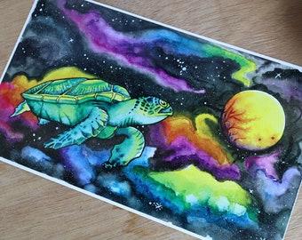 Print - Cosmic Turtle -Galactic Print - Galaxy Print - Space Print - Sea turtle Print - Psychedelic Watercolor Print