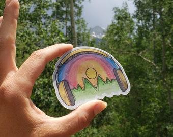 STICKER - Listen to the Mountains - Travel - Colorado - Hiking sticker - Rainbow - Sunset - Nature