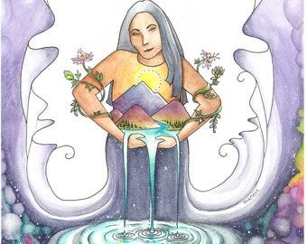 "Print - ""Mama Cosmos"" - Watercolor - Universal Mother"