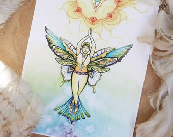 """Print - """"Guided"""" - Nature Fairy - Dragonfly - Butterfly - Hummingbird Medicine"""