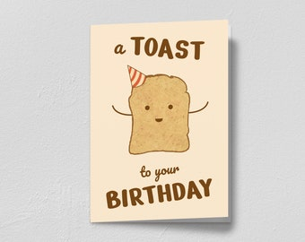 A Toast To Your Birthday Printable Card   Funny Pun Printable Birthday Card   Instant Download
