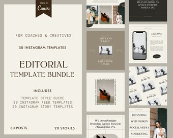 Editorial Instagram Templates   Minimal Templates for Creatives and Coaches