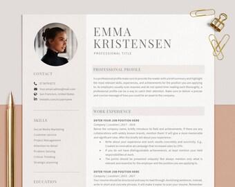 Resume Template Word, CV Template Modern Simple, Curriculum Vitae, Resume with Photo, Lebenslauf Vorlage, Bewerbungsvorlage, 1, 2, 3 Pages