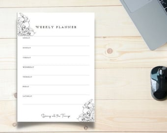 Calla Lily Outline Weekly Planner - Digital Download Printable