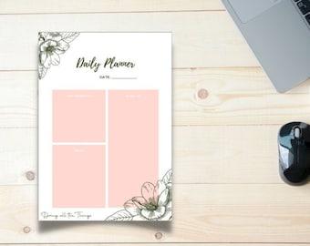 Pink Floral Daily Planner - Digital Download Printable