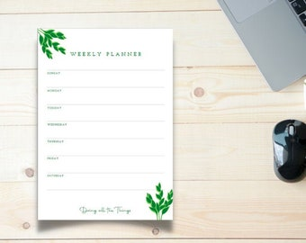 Green Leaf Weekly Planner - Digital Download Printable