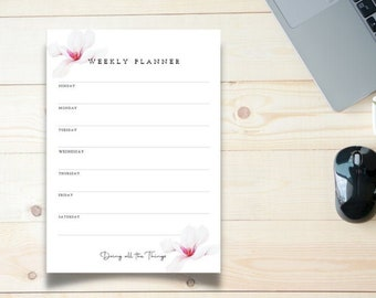 White Magnolia with Pink Accents Weekly Planner - Digital Download Printable