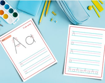 Alphabet Practice Writing Sheets - Printable Digital Download