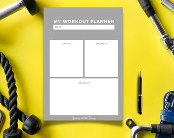 Simple Gray Workout Planner - Digital Download Printable