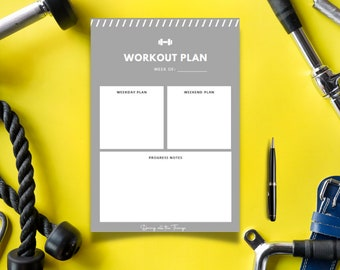 Gray Weekly Workout Planner - Digital Download Printable