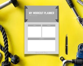 Gray Barbell Workout Planner - Digital Download Printable