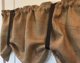 Burlap tie up with Black ties curtain valance