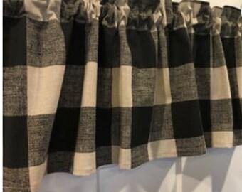 Black and Tan Buffalo  check curtain valance