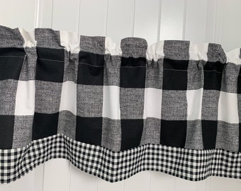 Black and white Buffalo check Gingham check curtain valance
