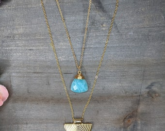 Gold plated necklace,Colorful,Elegant,Handmade,Lightweight,Modern,Everyday jewelry,boho,hippie,gift,special occasion,gemstone,amazonite,bead