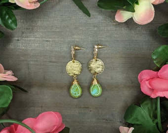 Gold plated earrings,Colorful,Elegant,Handmade,Lightweight,Modern,Everyday Earrings,boho,hippie,gift,special occasion, gemstone,beads,bridal