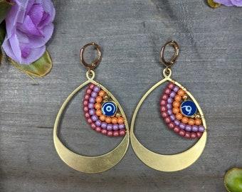 Evil eye Brass earrings,Colorful,Elegant,Handmade,Lightweight,Modern,Everyday Earrings,boho,hippie,gift,special occasion, ebeads,bridal, fun