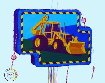 Digger Pull Pinata, Construction theme, Blue Birthday Party, Pinata Game