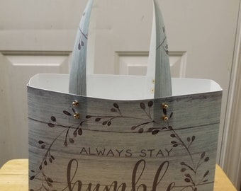Inspirational Handmade Large Vinyl Totes, matching wristlet included.