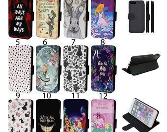 Alice in Wonderland - Flip Phone Case Wallet Cover For iPhone 6 7 8 X XR 11 12 13 Samsung S10 S20 + More