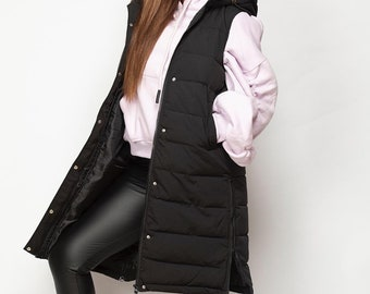 Longline Padded Gilet Zip Button Hood Hooded Plus Size Normal Size