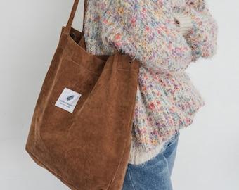 Tote bag, Corduroy Bag, Woman Bag, cotton bag, white bag, handmade gift, gift for her, birthday gift, reusable bag, laptop bag, modern bag