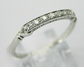 Vintage Art Deco Band, Seven Stone Band, Minimalist Daily Wear Band, Antique Vintage Band, Round Diamond Engagement Wedding Band, 925 Silver