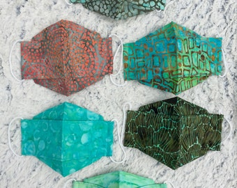 """3D Origami Face Mask, """"Lagoon"""" - Batik, 100% Cotton, 2 or 3 Layers, Breathable, Reusable, Anti Fog, Japanese mask, Made in the UK"""