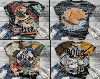 3D dog shirt, Dog owner gift, Dog lover tee, Dog Mom, Dog Dad, T-shirt, Gift for Dog Owner, Gift for her, Animal lover, PUG shirt, labrador