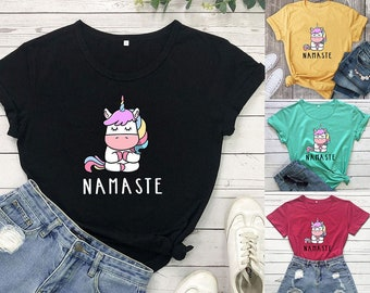 Digitally Printed Unicorn Namaste T-Shirt, Cute Unicorn Shirt, Unicorn Lover Tee, Namaste shirt, For Her Unicorn shirt, Animal Lover Tshirt