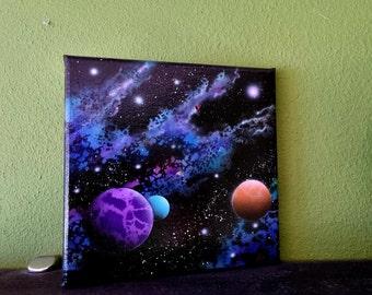 airbrush on canvas, deep space nebula
