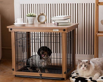 Dog Crate Dog Cage Indoor Fence Fence Wooden Cat Cage Dog Cage Outdoor Dog House Tread Net Plus ABS Tray Plus Cage Plus Wood Cover Dog Cage