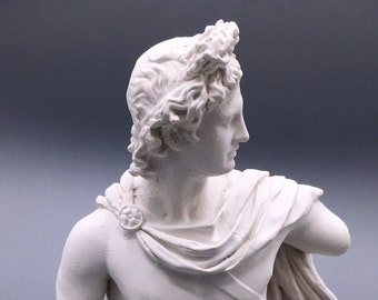 Sculpture of the Apollo of the Belvedere - Classical Greco-Roman white statue, white plaster bust