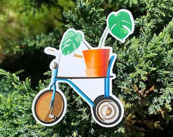 Plant on Bicycle Sticker, Hydro Flask Sticker, Laptop Sticker, Bujo Sticker, Mirror Sticker, Kid's Birthday, Birthday Gift, Christmas Gift